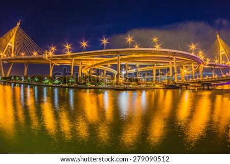 The Bridge across the river at twilight Bangkok, Thailand - stock photo