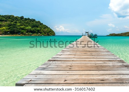 The Bridge and blue sea for relaxation - stock photo