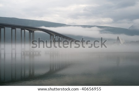 The bridge in a morning fog, -Tromso, Norway