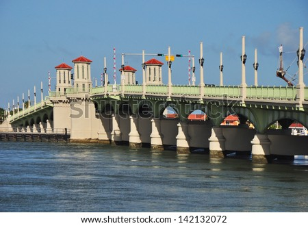 The Bridge of Lions in St Augustine Florida. The  iconic drawbridge bridges the intracoastal waterway and links Anastasia Island and beaches in St Augustine Florida - stock photo