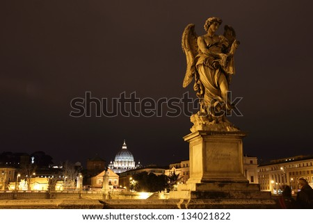 The bridge of the Angels at night, Castel Sant'Angelo, Rome, Italy - stock photo