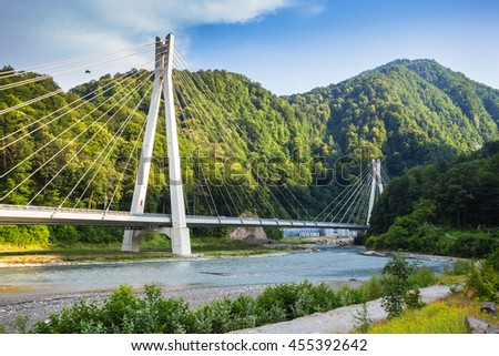 The bridge on the road from Sochi to Krasnaya Polyana to Olympic venues
