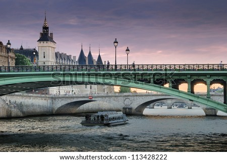 The bridge Pont Notre-Dame over river Seine in Paris, France. - stock photo