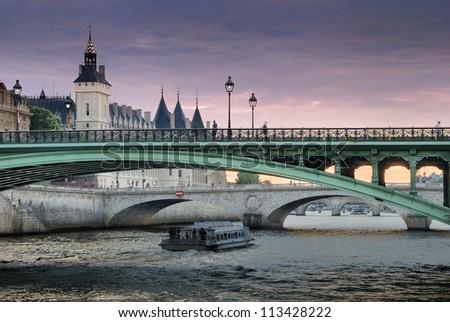 The bridge Pont Notre-Dame over river Seine in Paris, France. - stock photo