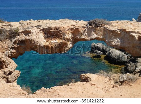 The bridge sinners in the Cape Greco. The Republic Of Cyprus