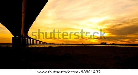 The bridge to Ile De R�©, France - stock photo