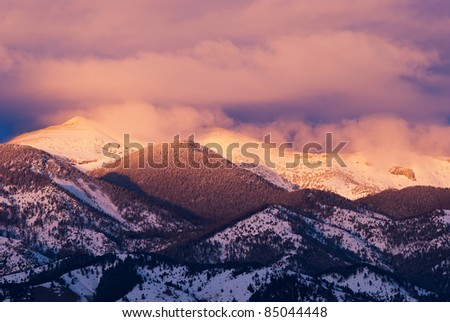 The Bridger Range at sunset in late winter, Gallatin County, Montana, USA