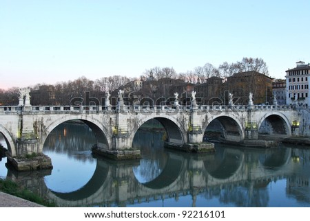 The bridges on the Tiber river in Rome