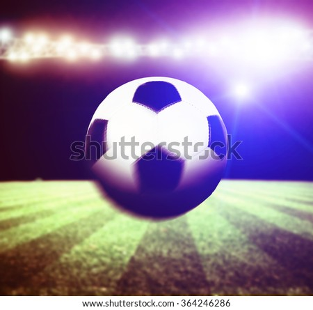 the bright lights at night and soccer stadium - stock photo