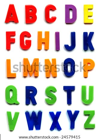 The British alphabet letters in plastic toy characters - stock photo