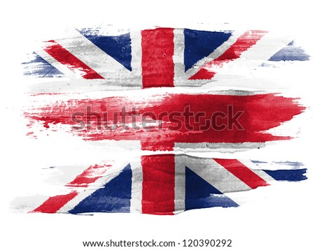 The British flag painted on white paper with watercolor - stock photo