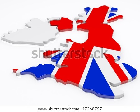 the british isles covered in the union jack flag