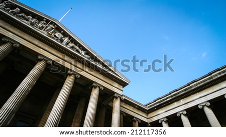The British Museum, London. Abstract angle on the facade of the British Museum, London. - stock photo