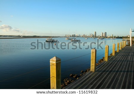 The Broadwater on the Gold Coast Australia at sunrise seen from Labrador looking toward Main Beach. - stock photo