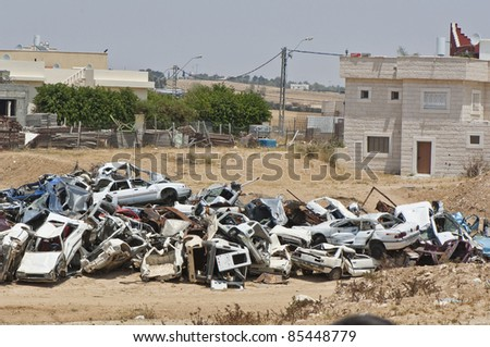 the broken cars in the Palestinian Territories, Israel