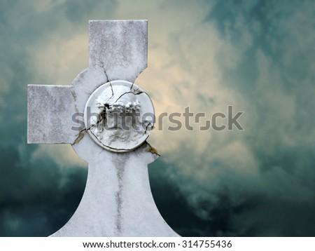 the broken cross - stock photo