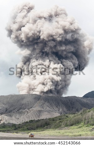 The Bromo volcano eruption on cloudy day, Java, Indonesia