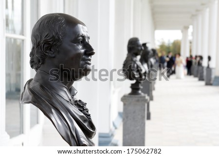 The bronze bust of Mikhail Lomonosov by sculptor Fedot Shubin, Pushkin near St.Petersburg, Russia  - stock photo