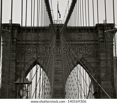 The Brooklyn Bridge in New York City - stock photo