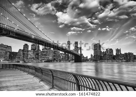 The Brooklyn Bridge in New York City. - stock photo