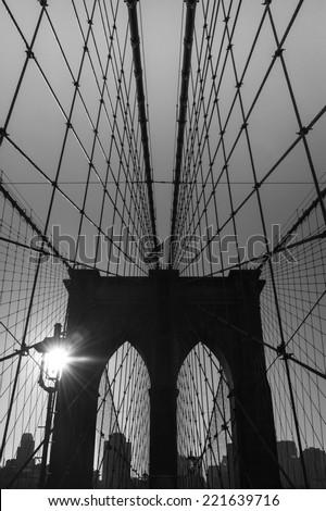 The Brooklyn bridge silhouette, New York City. USA. - stock photo