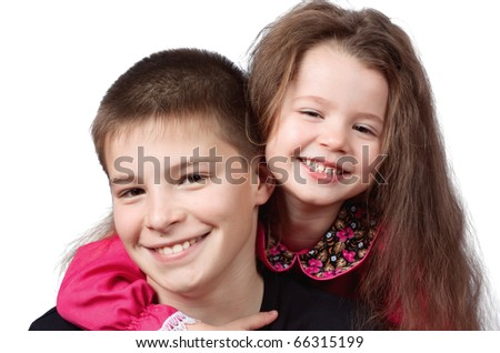 The brother with sister  on white background - stock photo