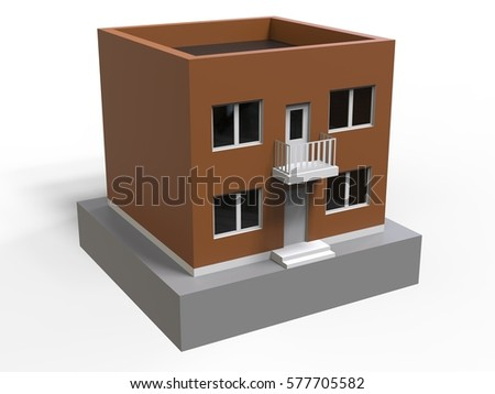 The brown building on the platform with the balcony, door and windows. 3d rendering