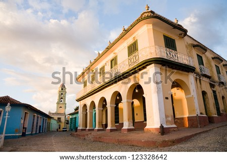 The Brunet Palace in the Plaza Mayor of Trinidad in Cuba - stock photo