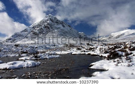 The Buachoille Etive mountain high up in Glencoe Scotland