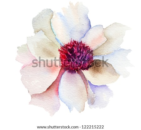 The Bud of white flower, Watercolor painting - stock photo