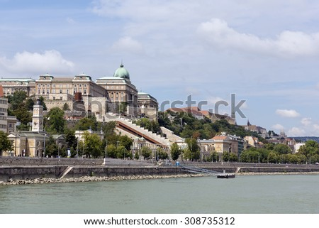 The Buda castle from the Danube river, Budapest - stock photo