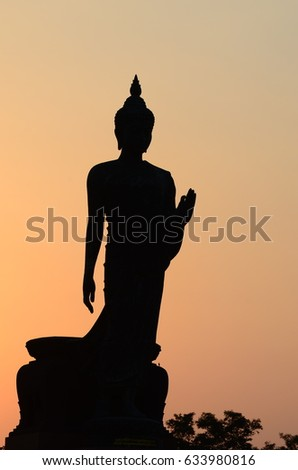 The Buddha statue in evening : Silhouet