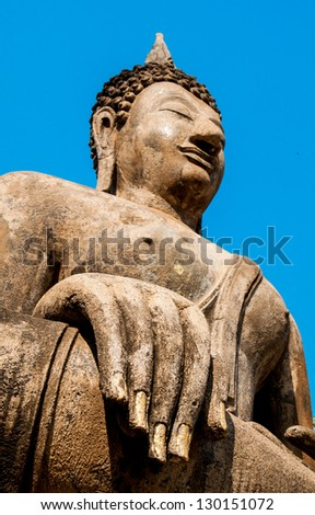 The Buddha status at Wat Traphang Ngoen in Sukhothai Historical Park , Sukhothai, Thailand - stock photo