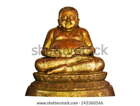 The Buddha status isolated on white background - stock photo