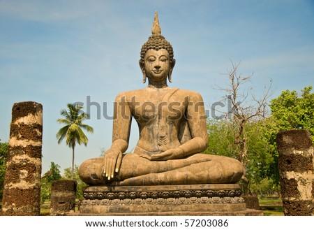 The Buddha status of sukothai historical park,Thailand - stock photo