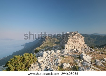 The building at the Summit of the Dinaric Mountains in Croatia. - stock photo
