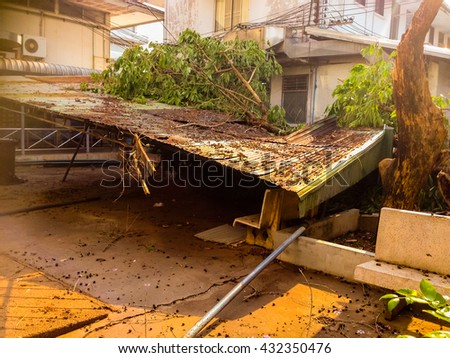The building collapsed from the storm,Collapsed buildings - stock photo