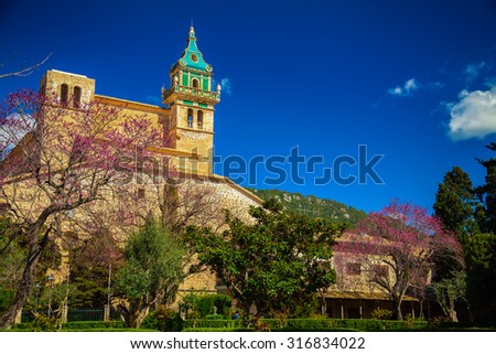 the building of Charterhouse in Valldemossa, Majorca, Spain - stock photo