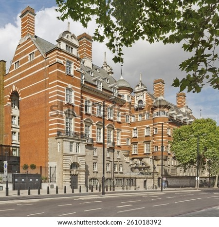 The building of original New Scotland Yard, now called the Norman Shaw Buildings in London, England - stock photo