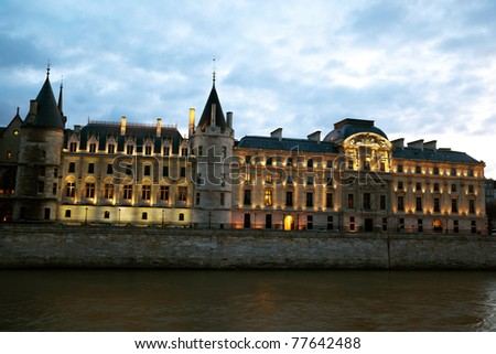 The building of the Court of Cassation on the banks of the Seine. - stock photo
