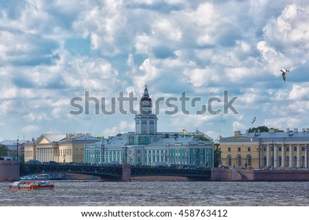 The building of the Kunstkammer in St. Petersburg against the sky with clouds, Russia