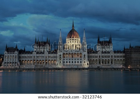 The building of the Parliament, Budapest, Hungary. - stock photo