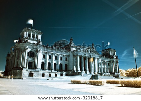 the building of the Reichstag in Berlin, photo taken with an infrared filter - stock photo