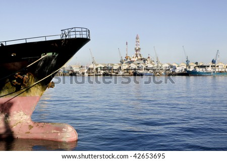 The bulbous bow of a ship tied up in the Victoria and Alfred Harbour, Cape Town, South Africa.