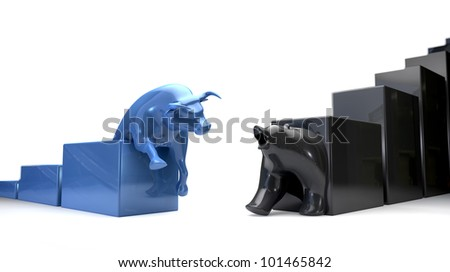 The bull and bear economic trends approaching each other - stock photo