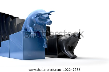 The bull and bear economic trends competing side by side - stock photo