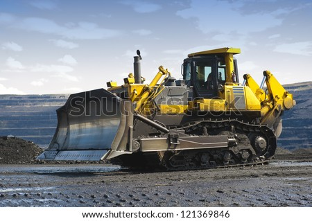 The bulldozer, tractor, digger - stock photo