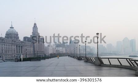 The Bund morning , Shanghai - stock photo