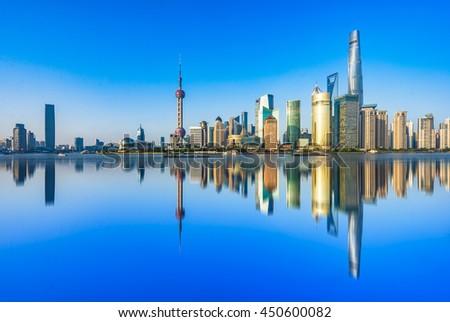 the bund of shanghai,copy space. - stock photo