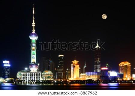 The Bund (Wai Tan), Night view of Shanghai, China - stock photo